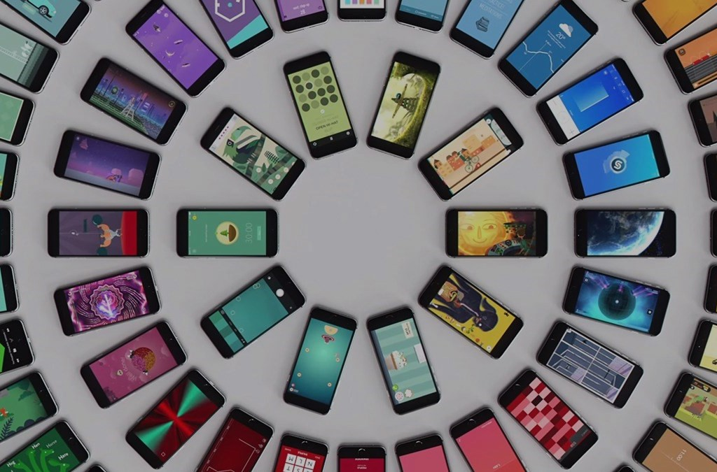 Circles of phones using a number of apps